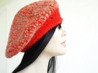 Vintage Handknit Crochet Red/Tan Beret Hat