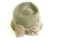 Vintage Henry Pollack Taupe Bow Hat