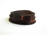 Vintage Chocolate Brown Velour Stack Hat