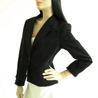 Vintage 1970s Black Evan Picone Wool Blazer