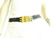 Vintage 1980s Black Abbi Snakeskin/Gold Belt