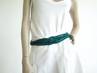 Vintage 1980s Teal Ginnie Johansen Rope Silk Cinch Belt