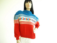 Vintage Hand Knit Multi Color Puff Sweater