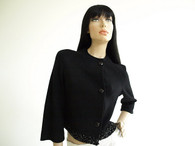 Vintage 1950s Kimberly Black Jeweled Sweater