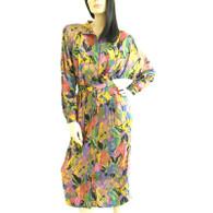 Vintage 1980s Jackie Bernard Multicolor Mockneck Wiggle Dress