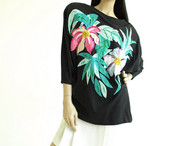 Vintage 1980s Bonnie Boerer Black Tropical Sequin Shirt