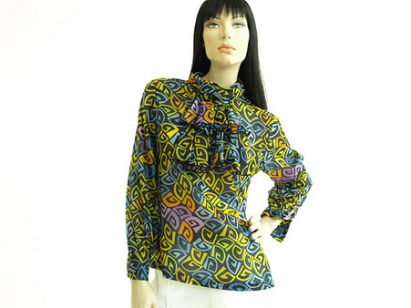 Vintage 1960s Graphic Print Ruffle Art Shirt
