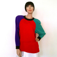 Vintage 1980s Josephine Color Black Polyester Shirt