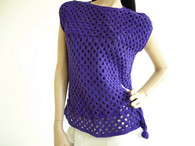 Vintage Tank 1970s Crochet - Hand knit Purple Sweater