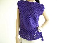 Vintage Tank 1970s Crochet - Hand knit Purple Sweater