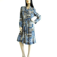 Vintage 1980s Blue Tribal Print A Line Dress