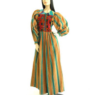 SOLD Vintage 1970s Gypsy Embroidered Stripe Maxi Dress