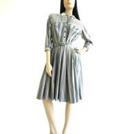 Vintage 1950s Blue Striped Paisley Print Shirt Dress