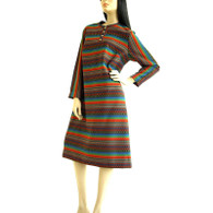 Vintage 1960s Dress - Ethnic Stripe Knit Dress