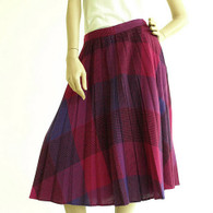 Vintage 1970s Midi Skirt - Purple Color Block Pleat