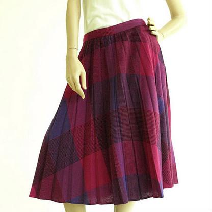 Vintage 1970s Midi Skirt - Purple Color Block Pleat