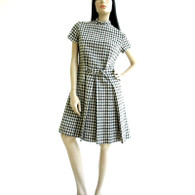 Vintage 1960s Minx Houndstooth Mod Dress
