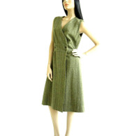 Vintage 1960s/1970s Olive Green Herringbone Sleeveless Wrap Dress
