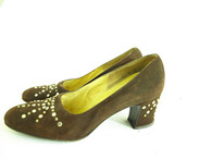 Vintage 1950's/1960's Johansen Shoes - Brown Stud Pump