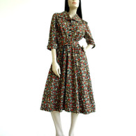 Vintage 1940's Dark Floral Print Swing Blouse Dress