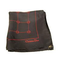 Vintage Designer Christian Dior Logo Silk Scarf