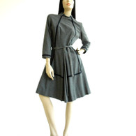 Vintage 1960&#039;s Charcoal Wool A-Line Dress