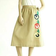 Vintage 1970's Sunny South Khaki Flower Skirt