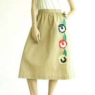 Vintage 1970's Sunny South Khaki Flower Skirt