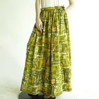 Vintage 1960's Olive Painted Maxi Skirt