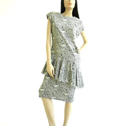 Vintage 1980's Subway Print Drop Waist Peplum Dress