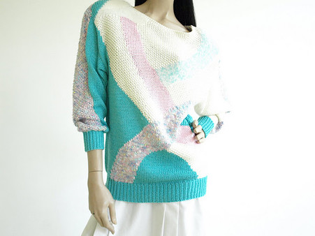 Vintage 1980's Nanneli Long Sherbet Sweater