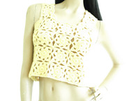 Vintage 1970's Yellow Crochet Vest Sweater