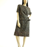 Vintage Brown Block Print Sheath Dress