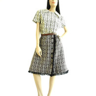 Vintage 1960&#039;s Brown/Cream Aztec Print Dress