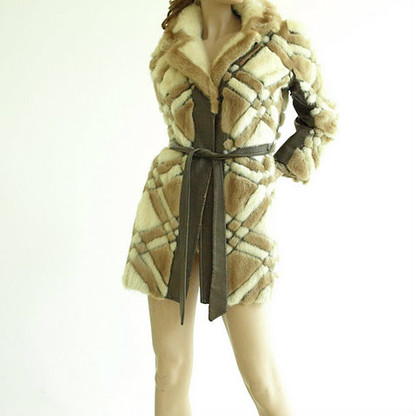 Vintage Cream/Beige Fur Checker Coat