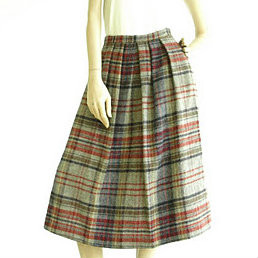Vintage 1970's Red/Grey Plaid John Meyer Midi Skirt