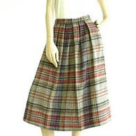 Vintage 1970's Red/Grey Plaid John Meyer Midi Skirt