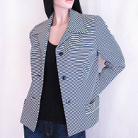 Vintage 1960&#039;s Navy &amp; White Striped Blazer