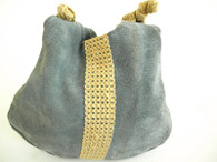 Vintage 1970&#039;s Periwinkle Blue Suede Tote Bag