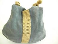 Vintage 1970's Periwinkle Blue Suede Tote Bag