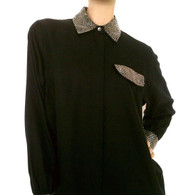 Vintage Black & Silver Beaded Pointed Collar Blouse