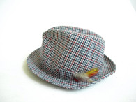 Vintage Red, Blue & White Plaid Fedora Hat