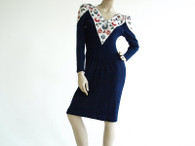 Vintage Lillie Rubin Navy Floral Sequin Knit Dress