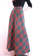 Vintage 1960/70 Green Plaid Maxi Skirt