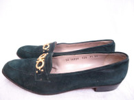 Vintage Salvatore Ferragamo Hunter Green Suede Loafer