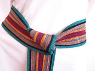 Vintage 1970's/1980's Christian Dior Teal Stripe Cinch Belt