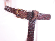 Vintage Brown Leather Braided Belt