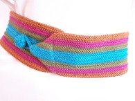 Vintage 1980&#039;s Stripe Crochet Sash Belt