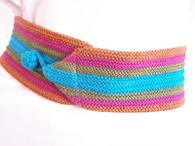 Vintage 1980's Stripe Crochet Sash Belt