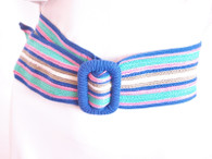 Vintage 1980&#039;s Blue Stripe Sash Belt
